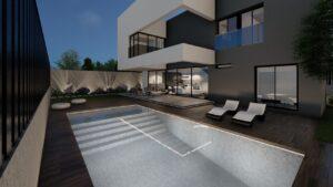 Zona exterior piscina de noche